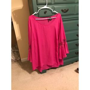Chiffon pink blouse with lace sleeve detail